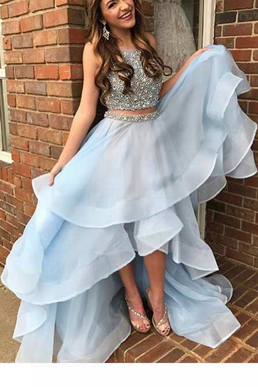 Two Pieces High Low Beaded Prom Dresses Party Evening Gowns 3020413