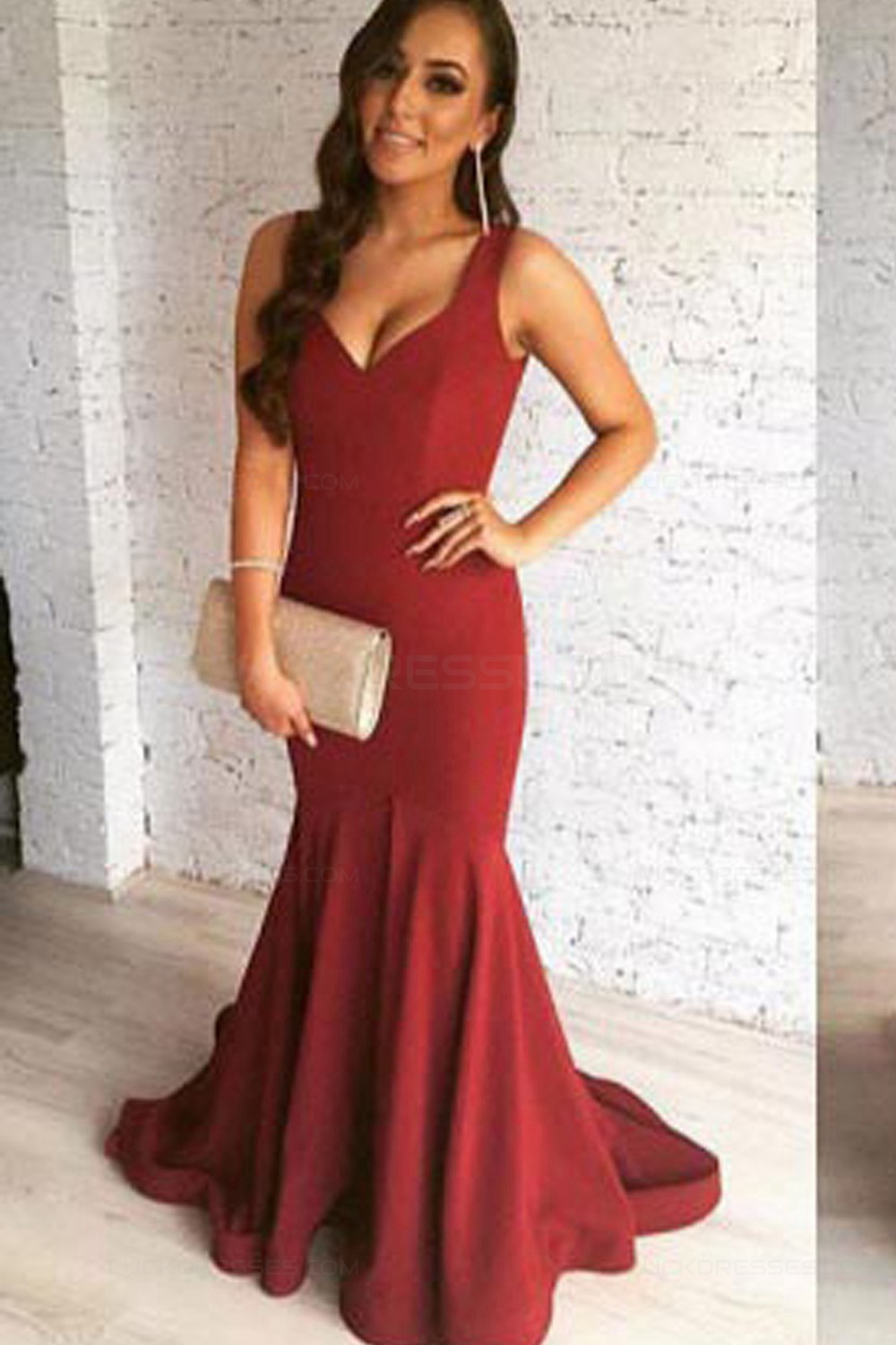 Mermaid V Neck Burgundy Long Prom Dresses Party Evening