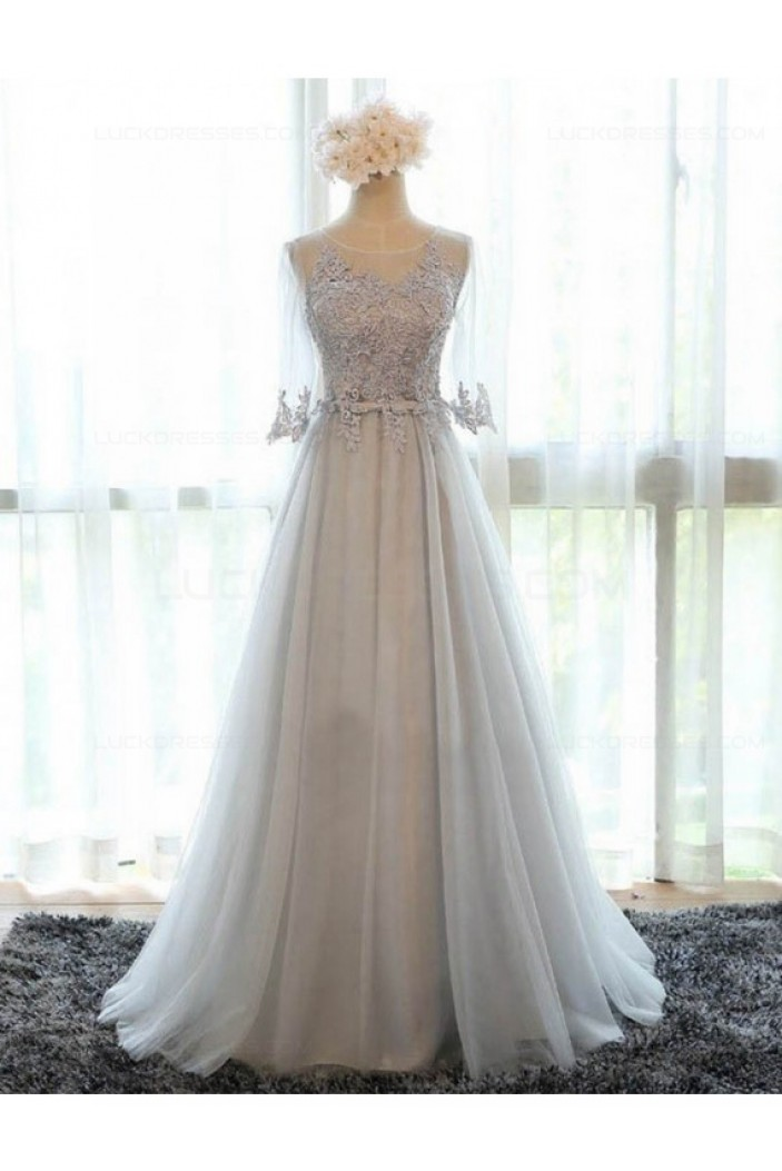 A-Line Illusion Neckline 3/4 Length Sleeves Prom Dresses Party Evening Gowns 3020425