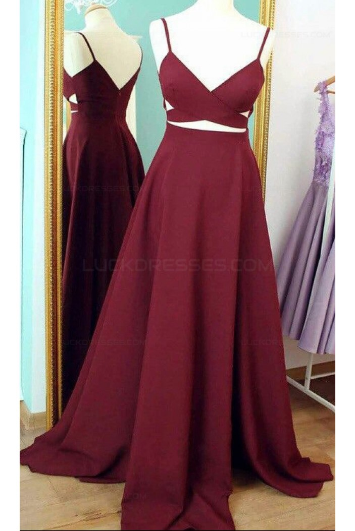 Long Burgundy Spaghetti Straps Prom Dresses Party Evening Gowns 3020427