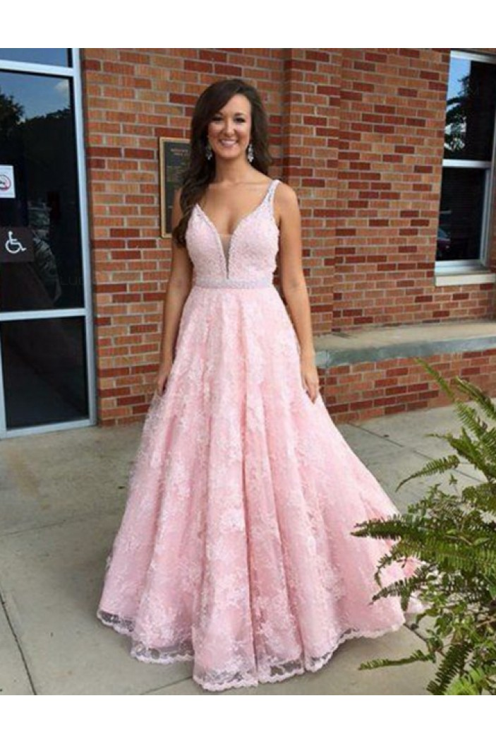 A-Line Long Pink Lace V-Neck Prom Dresses Party Evening Gowns 3020437
