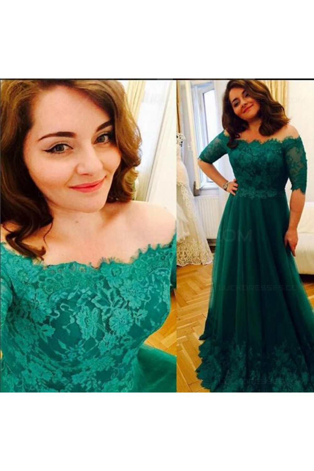 Long Green Lace Off-the-Shoulder Prom Dresses Party Evening Gowns ...