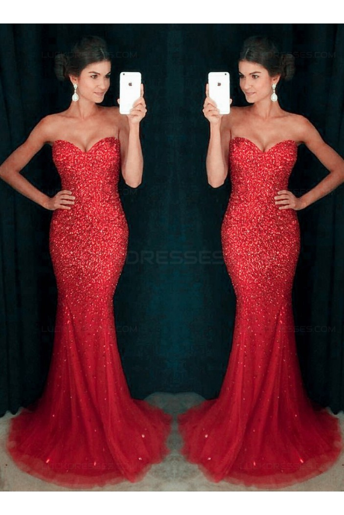 Mermaid Long Red Sparkly Prom Dresses Party Evening Gowns 3020449