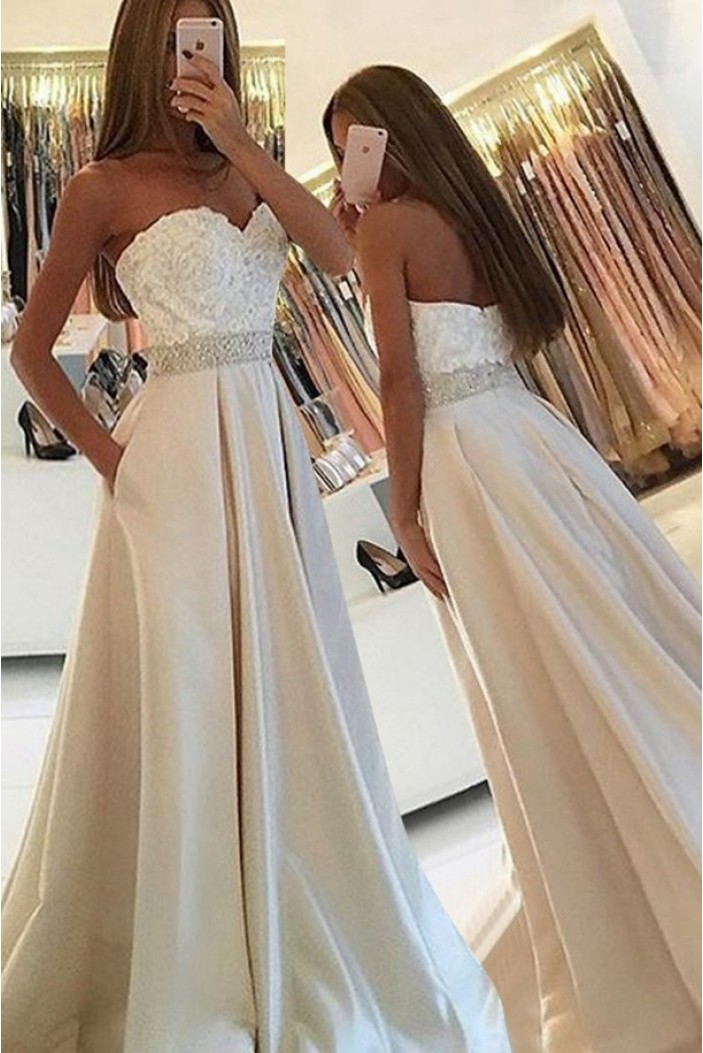 A-Line Sweetheart Beaded Lace Prom Dresses Party Evening Gowns 3020452