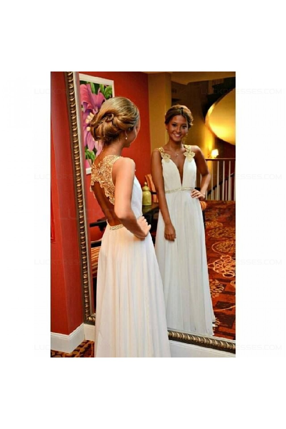 Long White Gold Lace Appliques Prom Dresses Party Evening Gowns 3020460