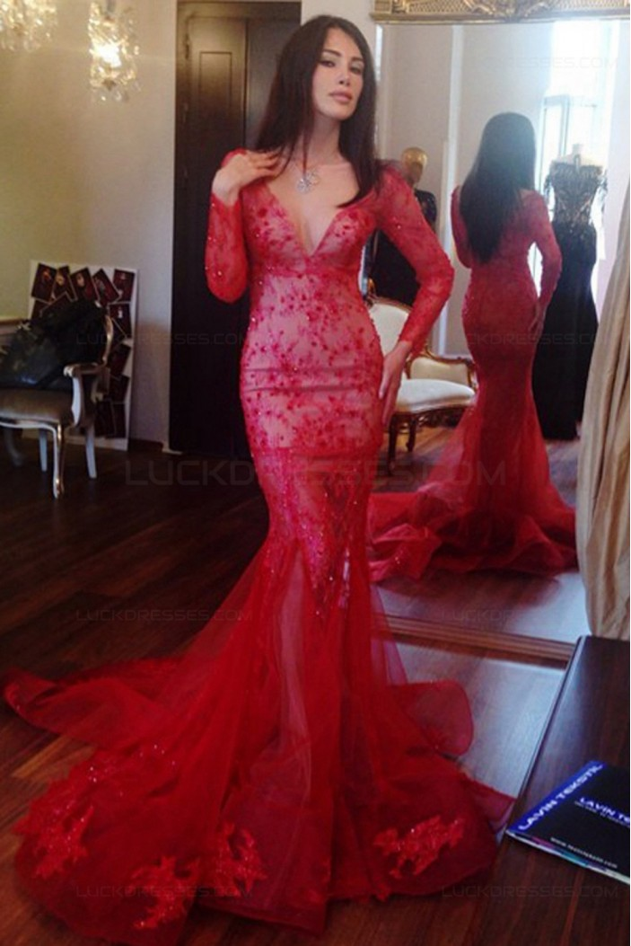Long Sleeves Mermaid V-Neck Lace Red Prom Dresses Party Evening ...