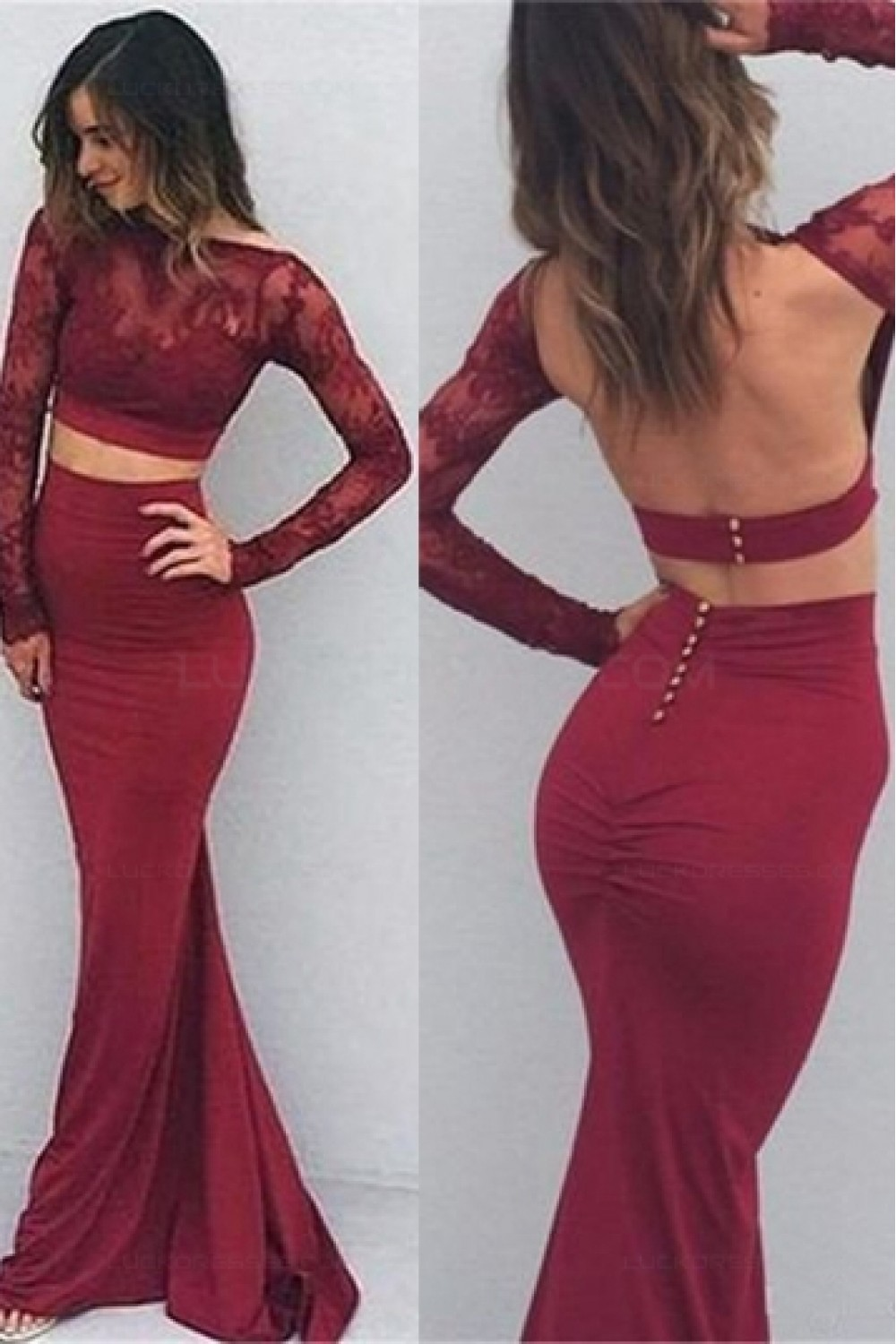 Long Sleeves Lace Mermaid Two Pieces Open Back Prom