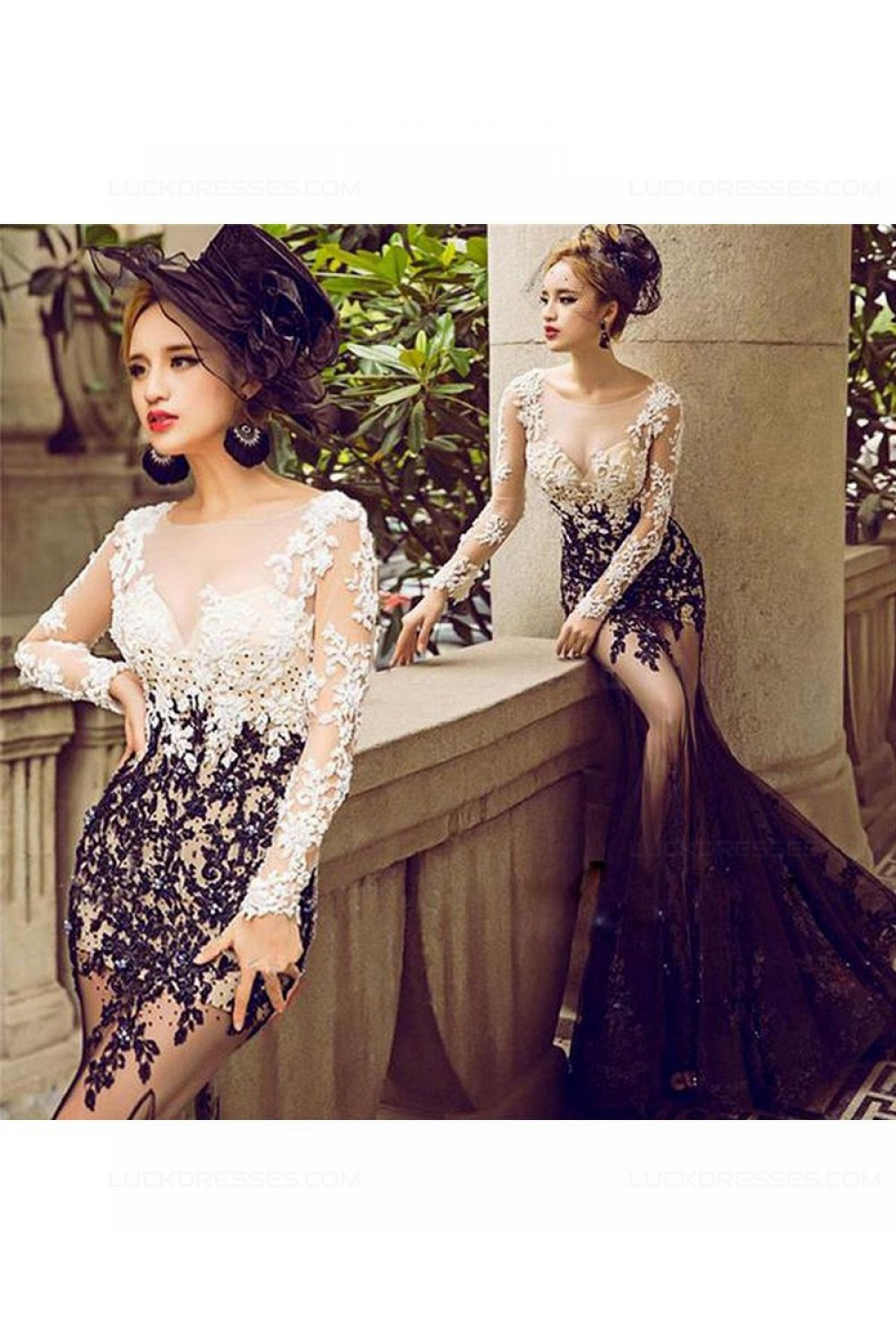 207d93b880bf Sexy Mermaid Long Sleeves Black White Lace Prom Dresses Party Evening Gowns  3020484