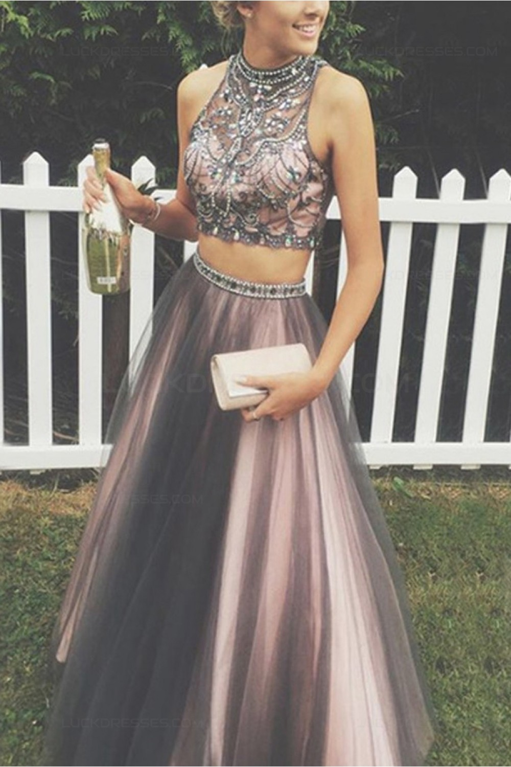 Beaded Two Pieces Prom Dresses Party Evening Gowns 3020485
