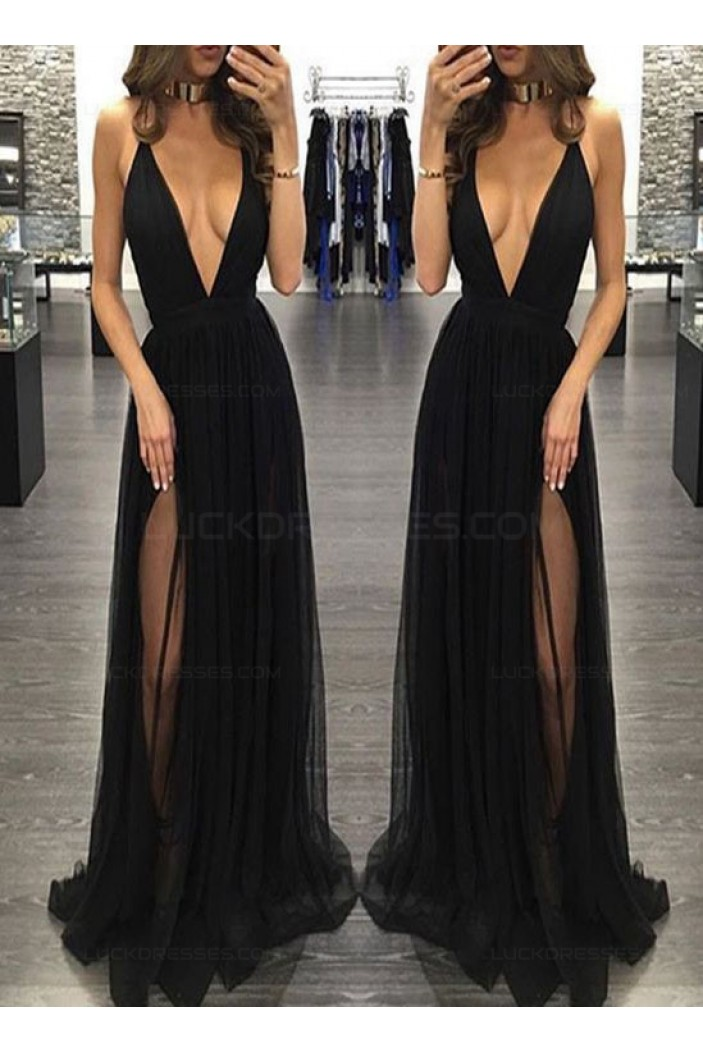 Sexy Low V-Neck Long Black Prom Dresses Party Evening