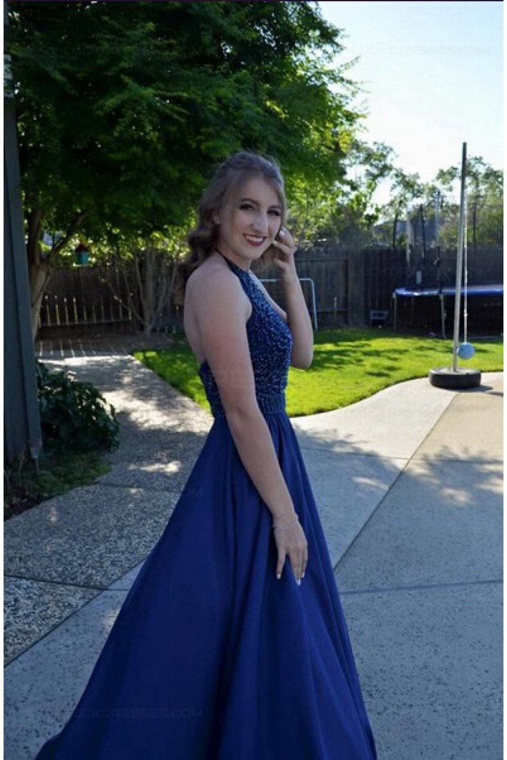 A-Line Beaded Halter Long Blue Prom Dresses Party Evening Gowns 3020507