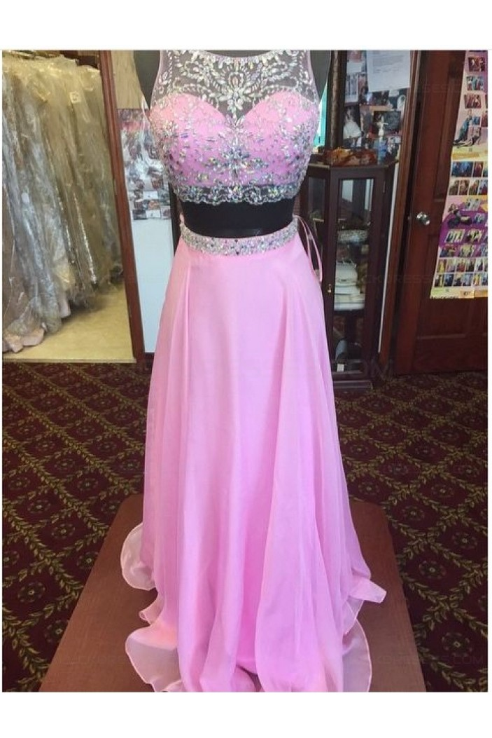 Long Pink Beaded Chiffon Prom Dresses Party Evening Gowns 3020522