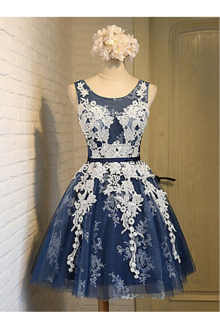 Short Blue Tulle White Lace Appliques Homecoming Cocktail
