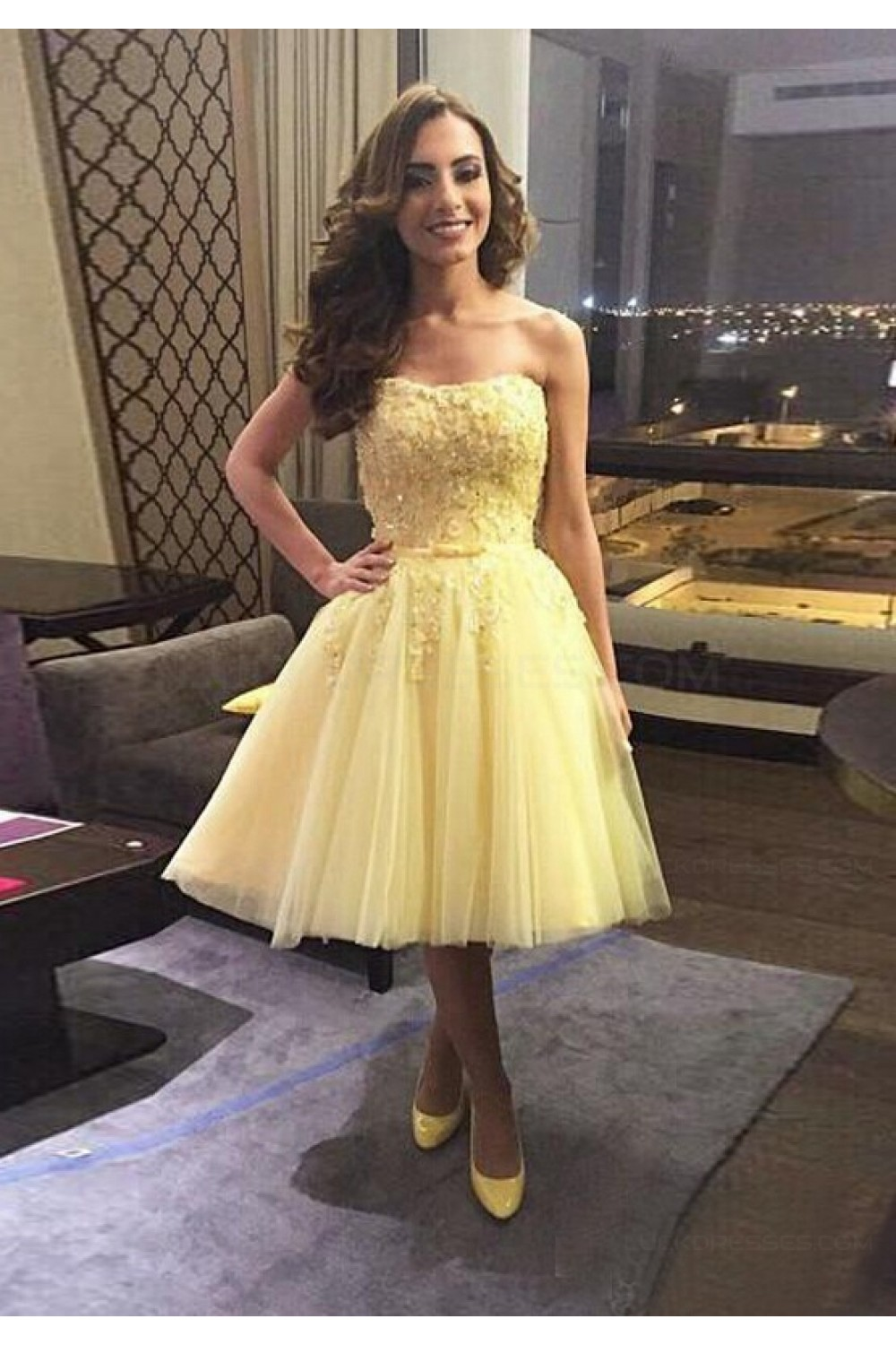 latest selection of 2019 hot-selling real best wholesaler Short Yellow Lace Tulle Homecoming Cocktail Prom Dresses Party Evening  Gowns 3020542