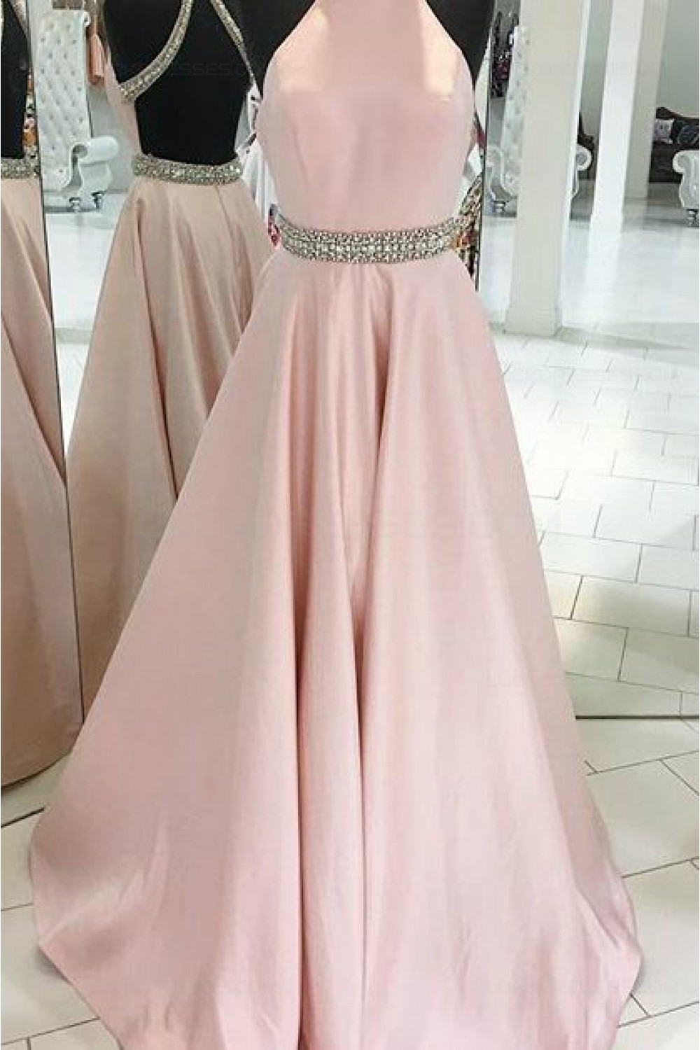 Long Pink Backless Beaded Halter Party Prom Evening