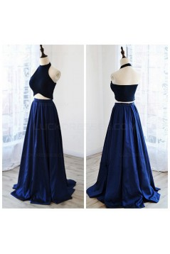 Chic Two Pieces Halter Sleeveless Royal Blue Floor-Length Prom Dresses 3020553