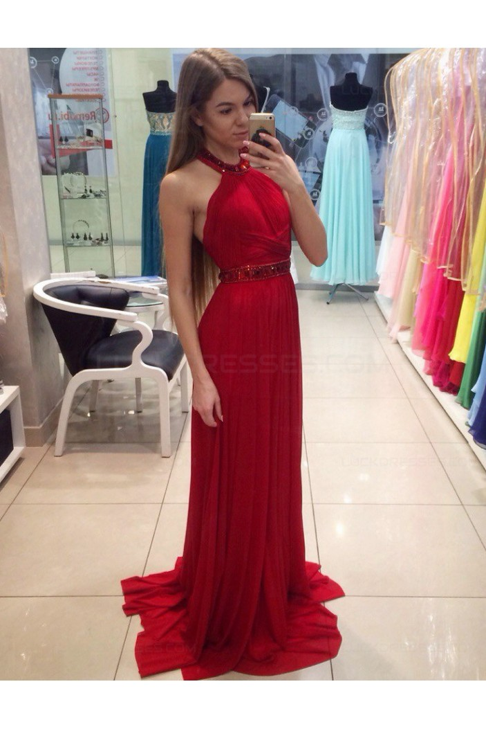 Long Red Halter Pleated Chiffon Prom Party Dresses 3020558