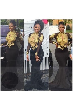 Mermaid High Neck Long Sleeves Prom Evening Dresses with Gold Appliques 3020571