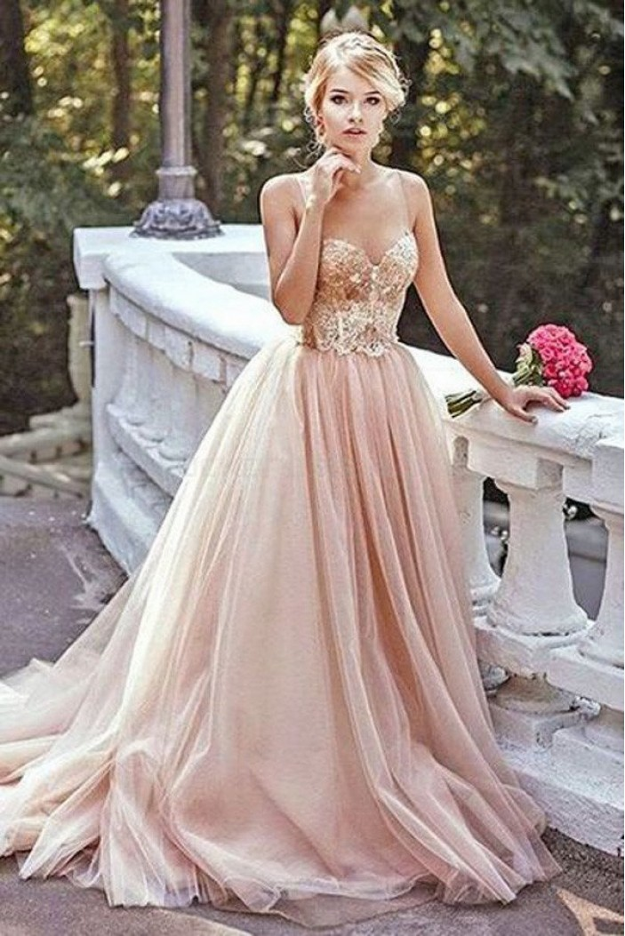 Elegant Tulle Ball Gown Long Prom Evening Dresses 3020590