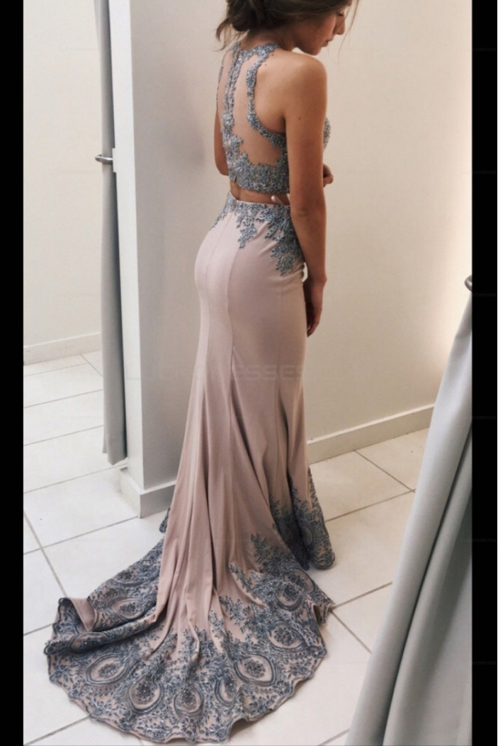 Elegant Two Pieces Long Prom Evening Dresses with Lace Appliques 3020599