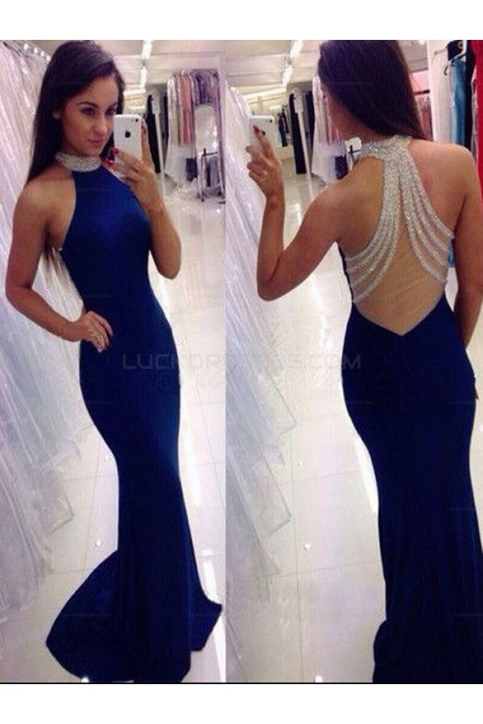 Long Blue Beaded Mermaid Prom Evening Party Dresses 3020611