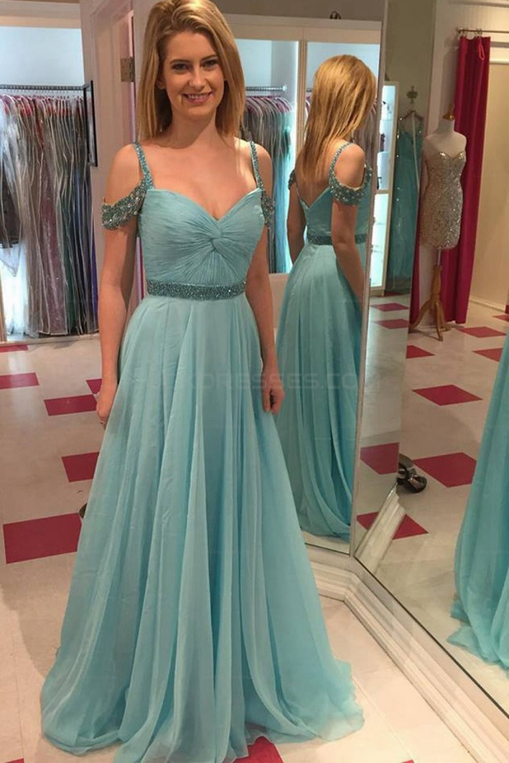Beaded Long Chiffon Prom Evening Party Dresses 3020640