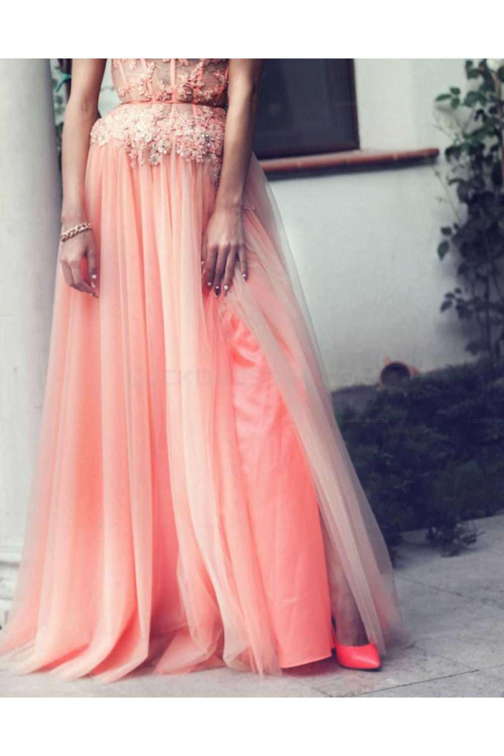 aline beaded lace appliques long prom evening party