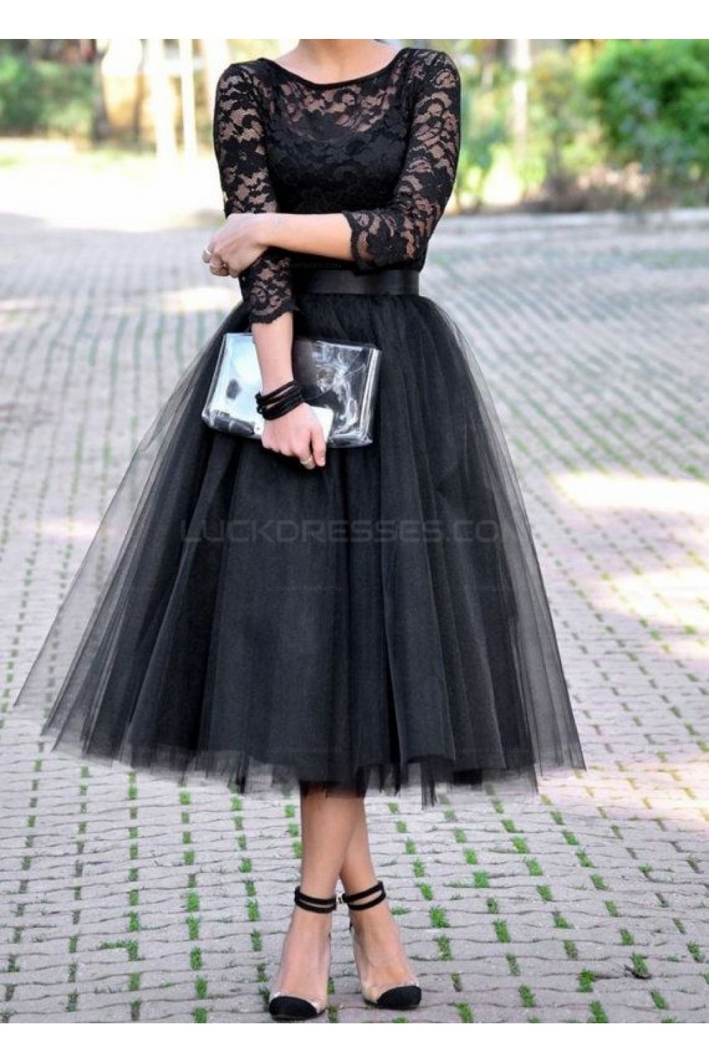 Black Lace Tea Length Prom Evening Party Dresses 3020659