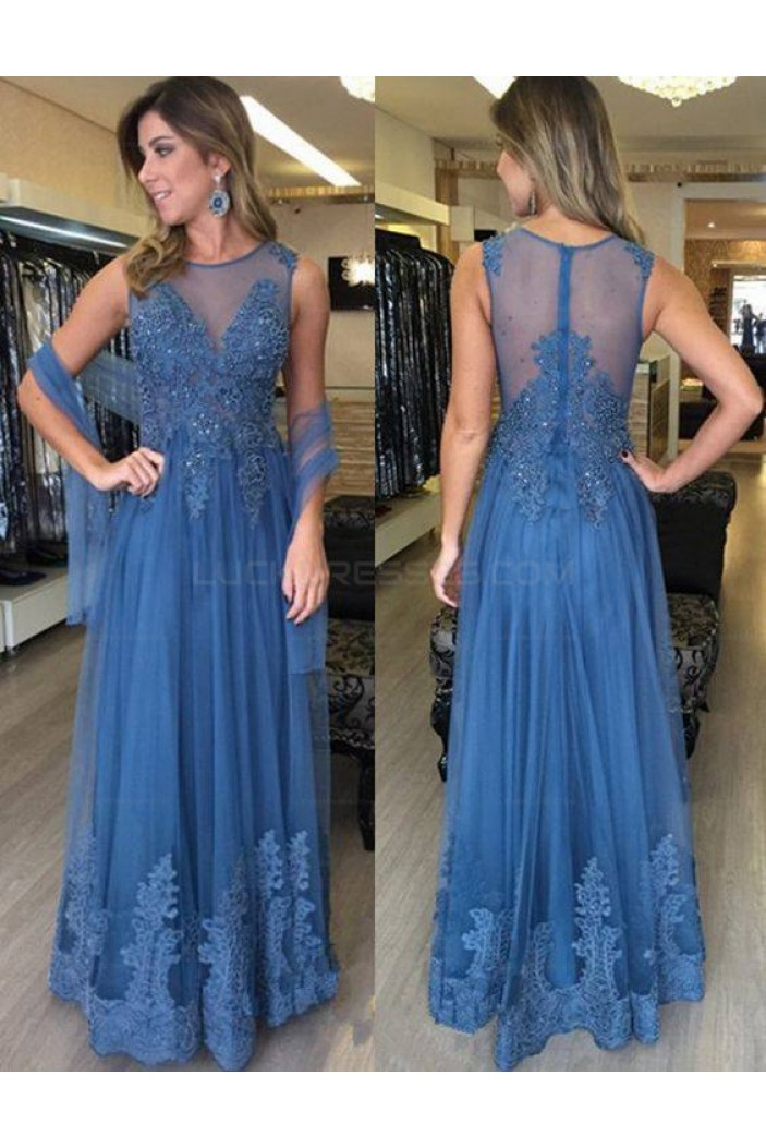 Long Blue Beaded Lace Appliques Prom Evening Party Dresses 3020662