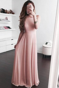 Long Pink Chiffon Prom Evening Party Dresses 3020680