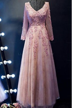 A-Line Long Sleeves V-Neck Lace Prom Evening Party Dresses 3020684