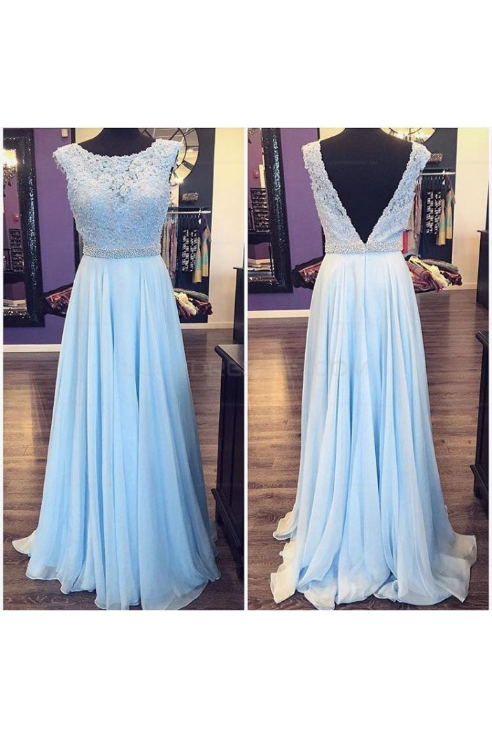 Long Blue Beaded Lace Appliques Prom Evening Party Dresses 3020685