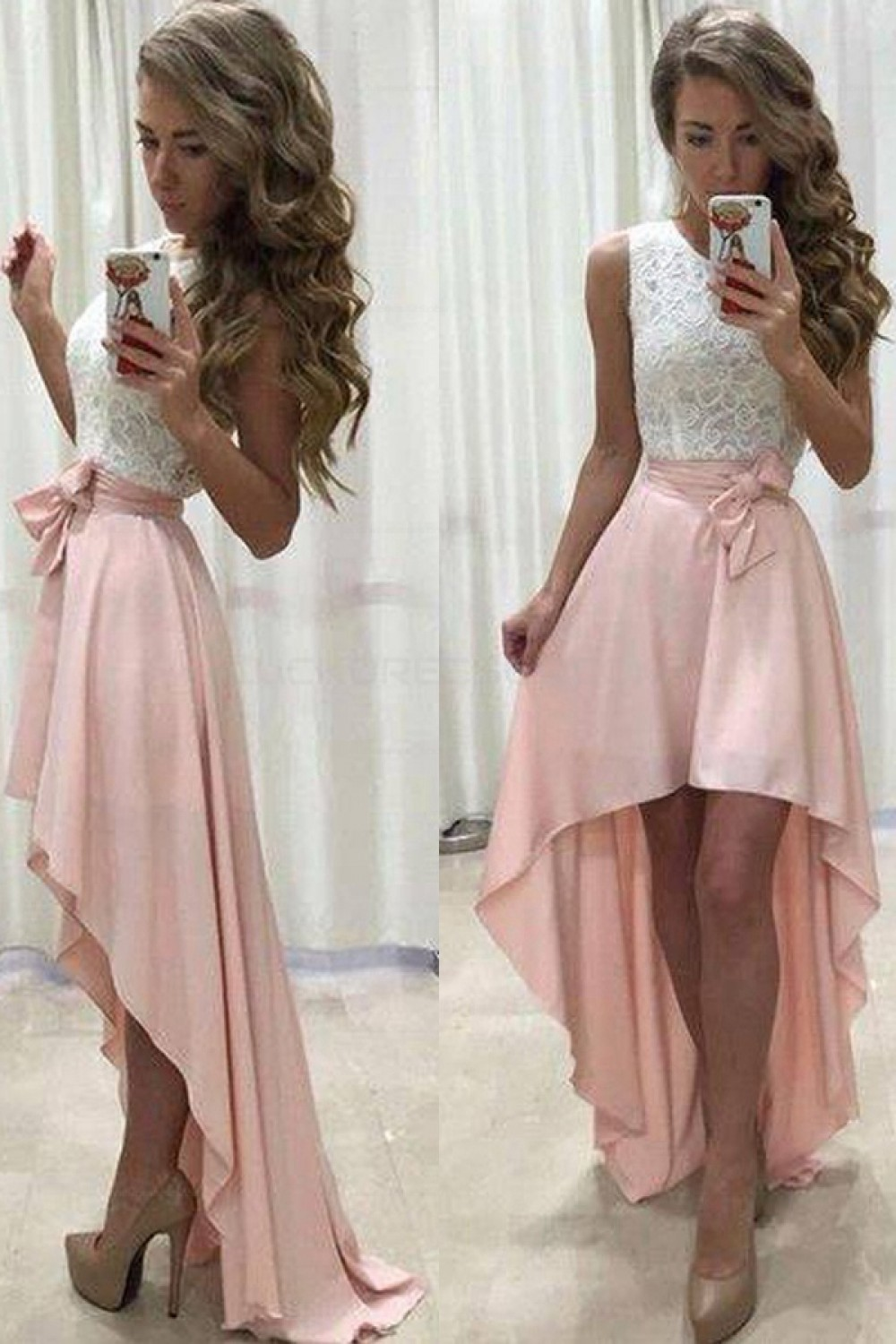 High Low Lace White Pink Prom Evening Party Homecoming