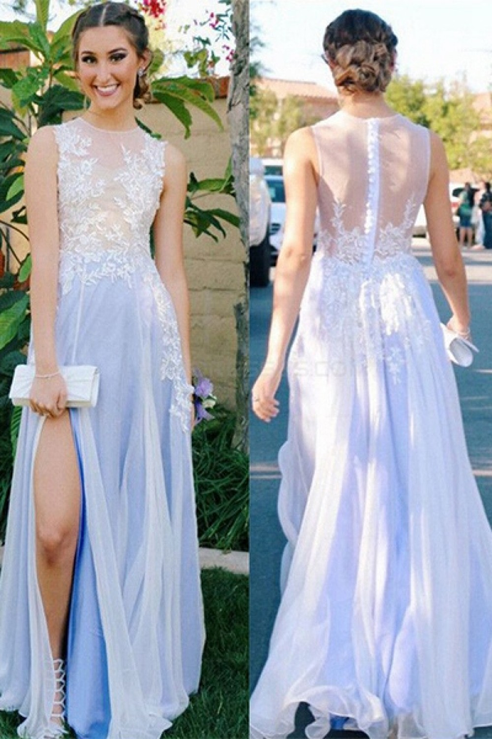 Elegant Illusion Neckline Lace Chiffon Long Prom Evening Party ...