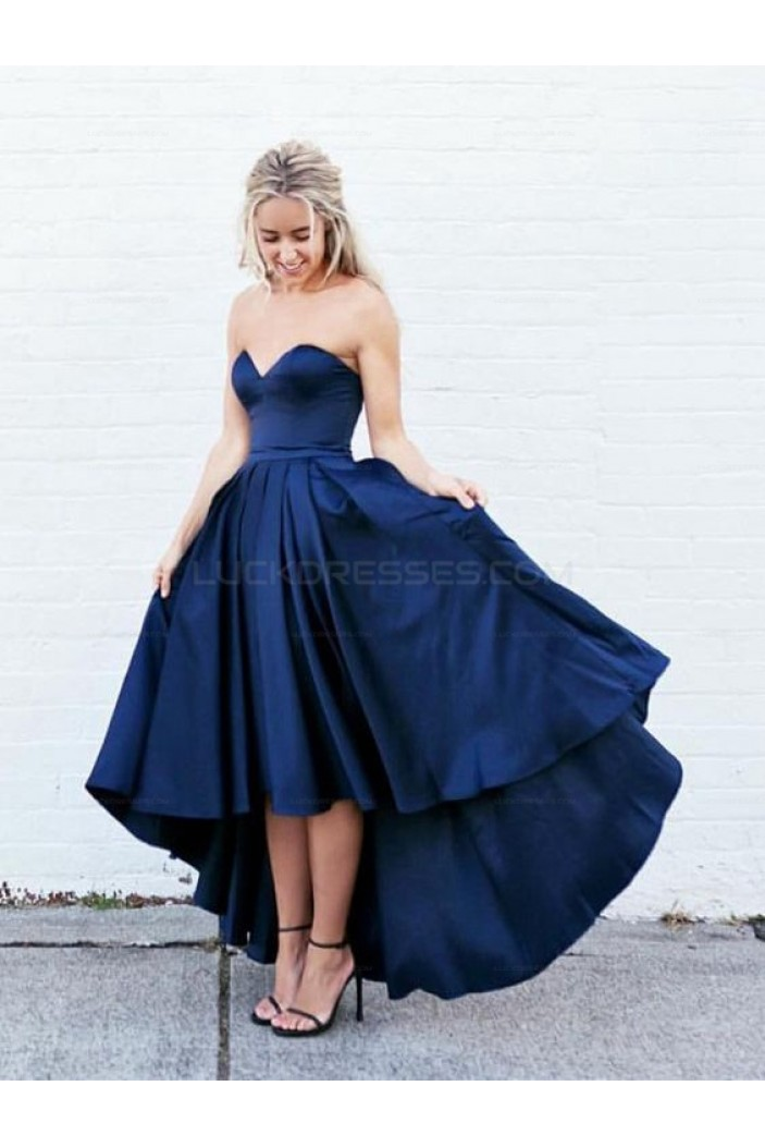 Blue High Low Sweetheart Prom Homecoming Graduation Dresses 3020703