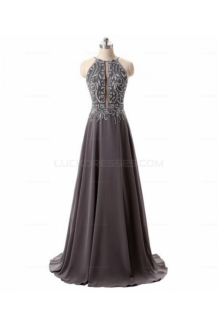 A-Line Beaded Chiffon Long Prom Evening Party Dresses 3020710