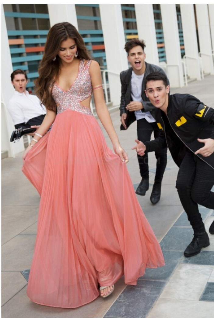 A-Line Beaded Long Chiffon Prom Evening Party Dresses 3020713