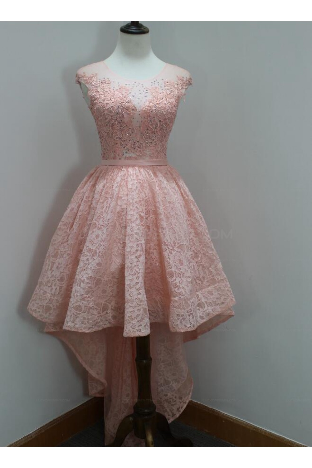 0d44888d3ae High Low Short Pink Beaded Lace Prom Homecoming Graduation Party Dresses  3020719