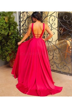 Sexy Long Red V-Neck Prom Dresses Party Evening Gowns 3020741