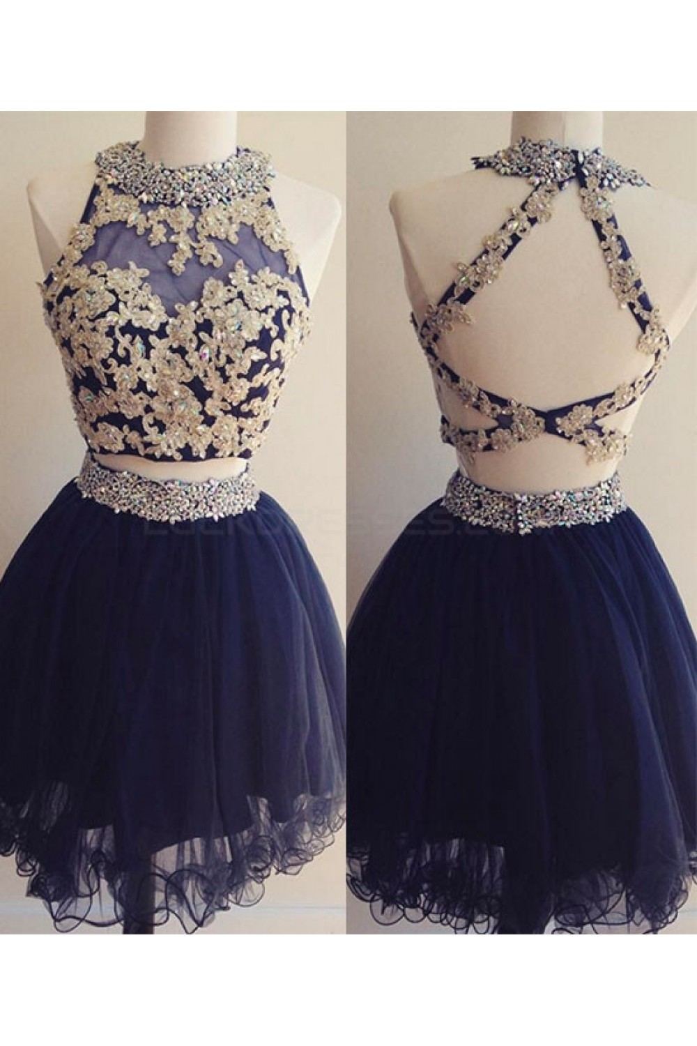 2a5a6cf3062 Short Two Pieces Navy Blue Beaded Lace Appliques Prom ...