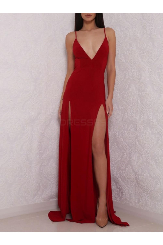 Sheath High Slit V-Neck Backless Long Red Prom Formal ...