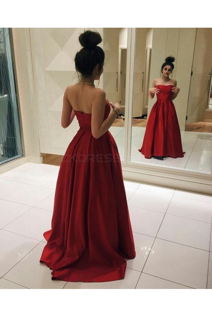 Long Red Strapless Prom Formal Evening Party Dresses 3020790