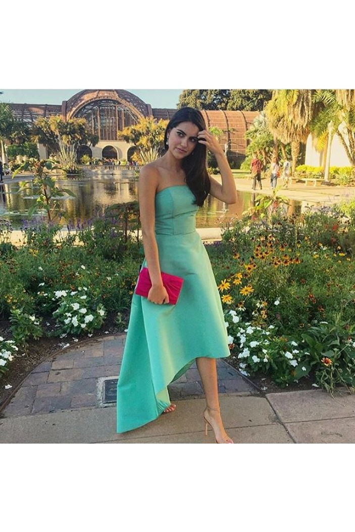High Low Strapless Green Prom Formal Evening Party Dresses 3020801