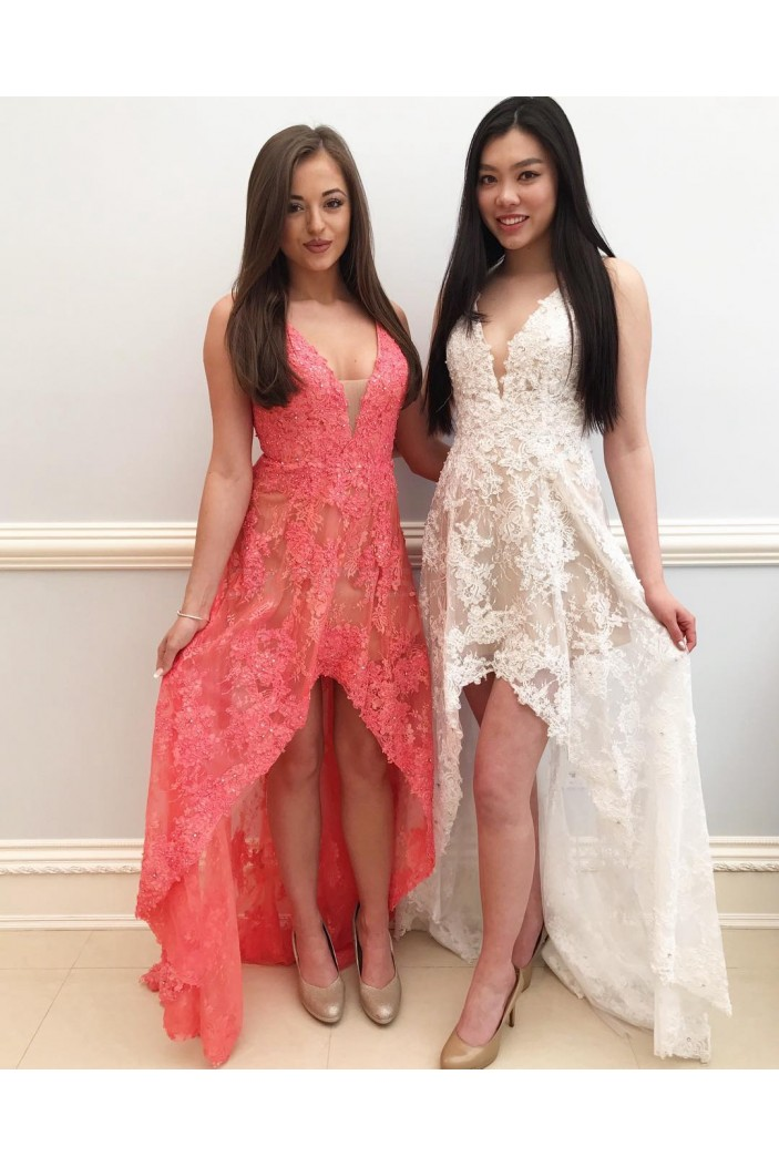 High Low V-Neck Lace Prom Formal Evening Party Dresses 3020850