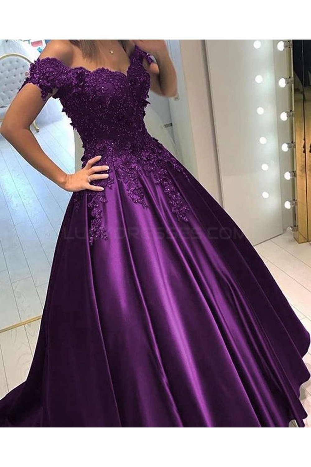 Ball Gown Off The Shoulder Purple Long Lace Prom Formal