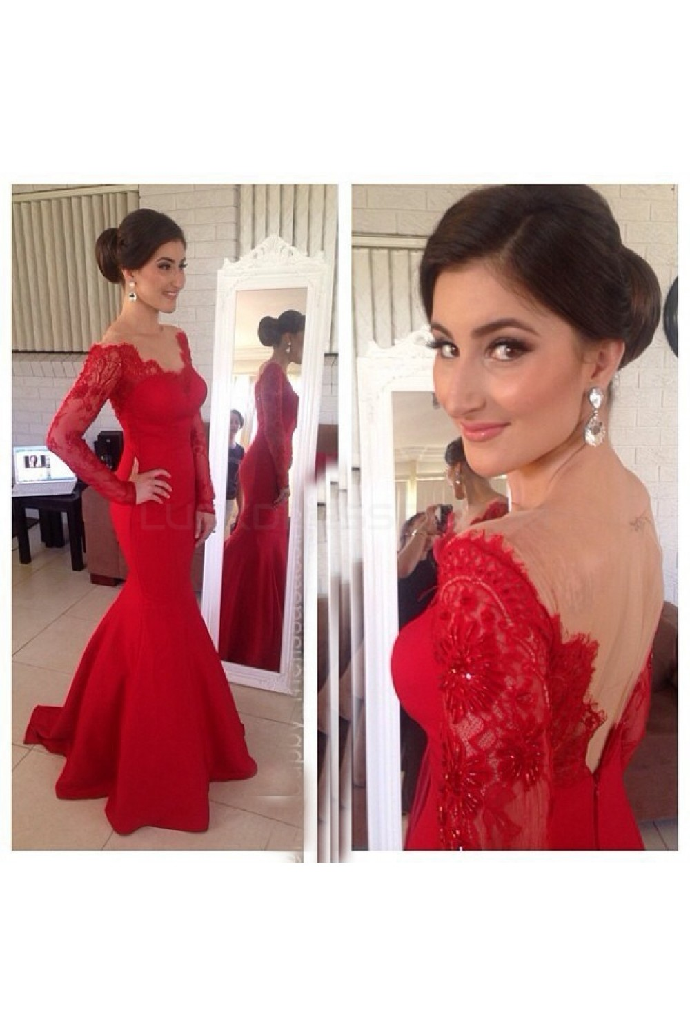 6942157aed02c Mermaid Long Red Lace Long Sleeves Prom Formal Evening Party ...