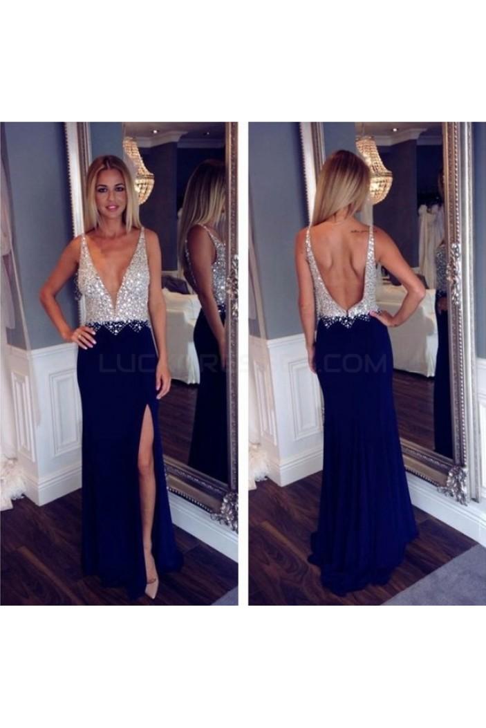 Beaded Long Blue V-Neck Prom Formal Evening Party Dresses 3020888