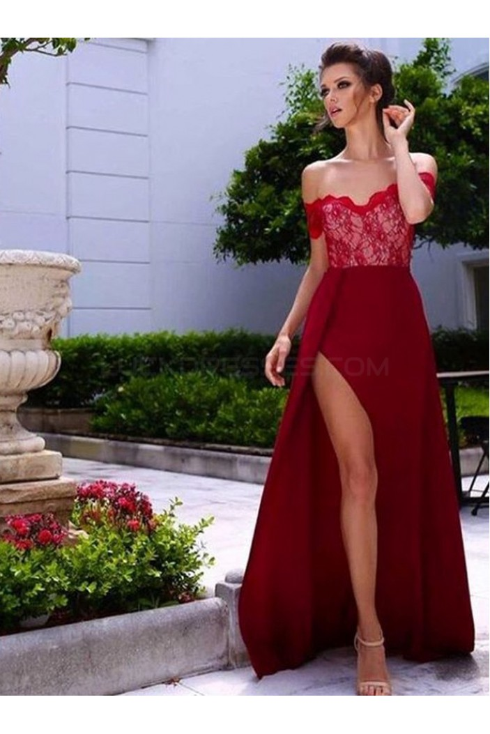 Long Red Lace Off-the-Shoulder Prom Formal Evening Party Dresses 3020894