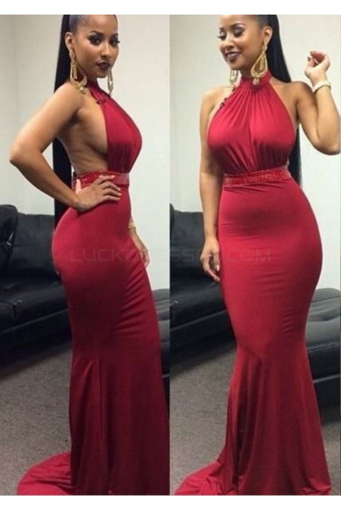 Sexy Halter Mermaid Long Prom Formal Evening Party Dresses 3020900