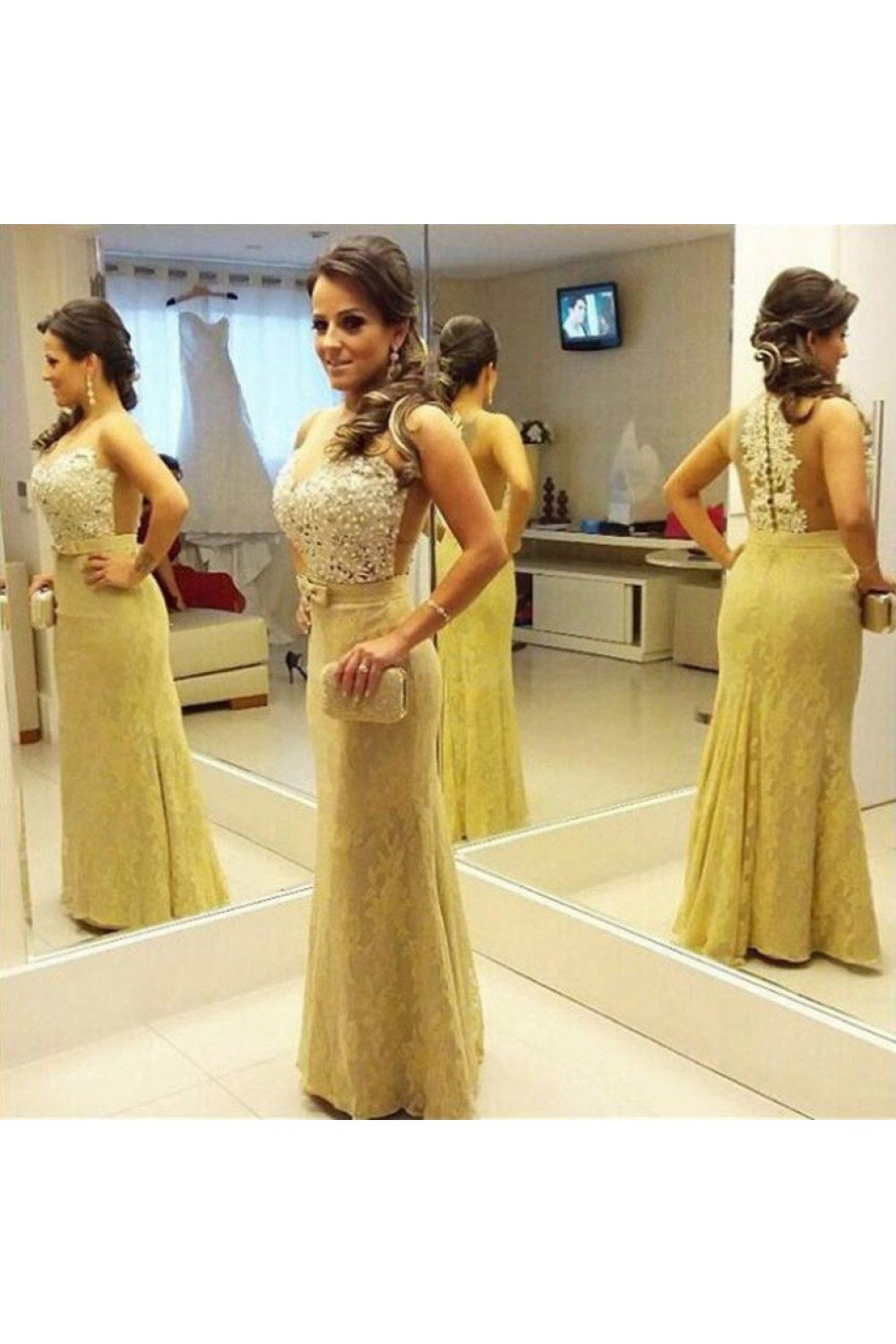 af0ac24e3dce Beaded Long Yellow Lace Mermaid Prom Formal Evening Party ...